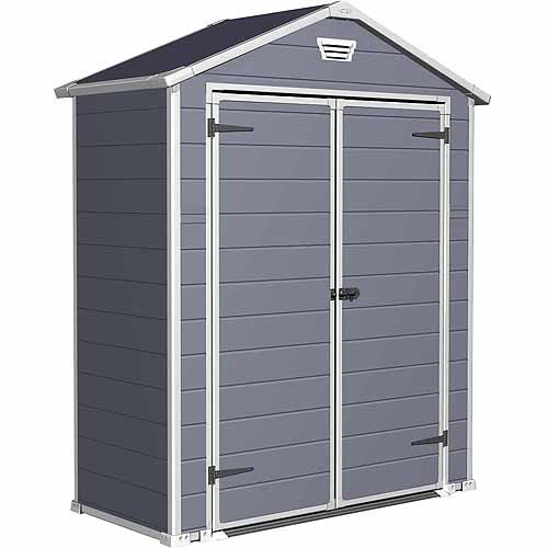 Keter Manor 6' x 3' Resin Storage Shed, All-Weather Plastic Outdoor Storage, Gray/White