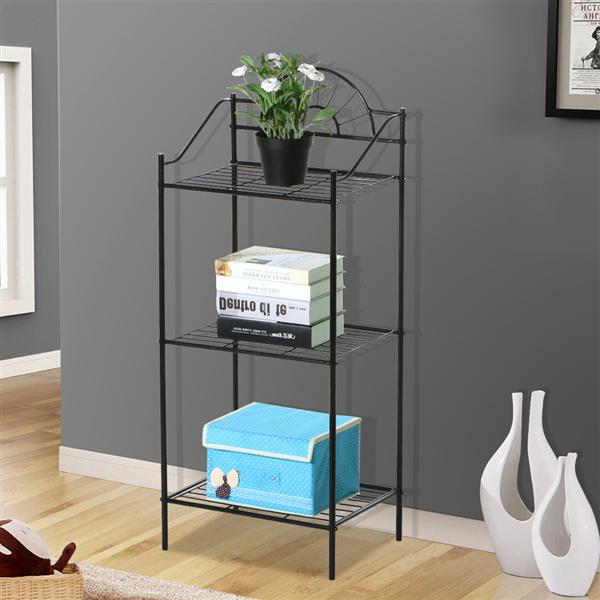 YaHeetech Triple Tier Garden Plant Stand Metal Telephone Corner Table Stand Black by Yaheetech