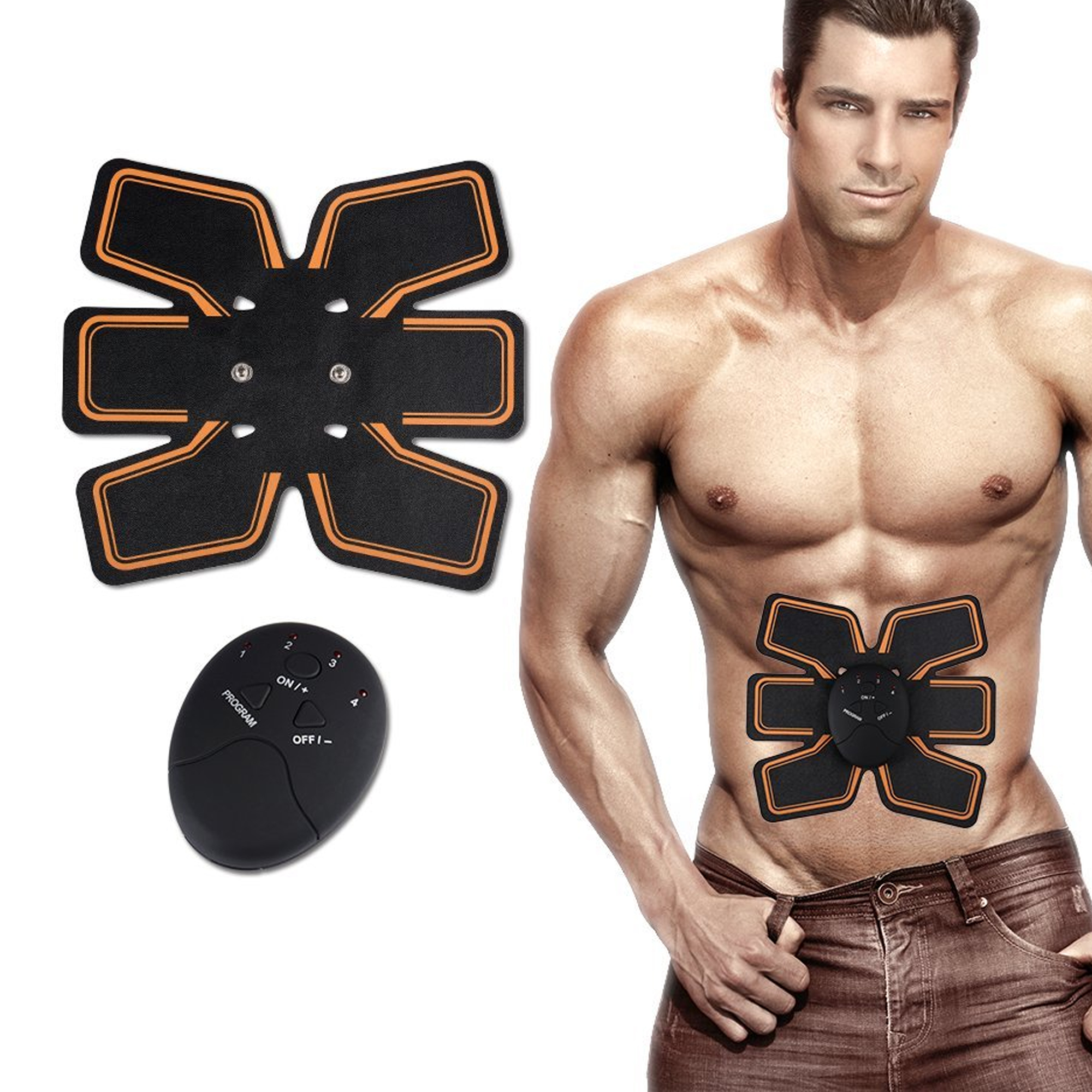 Portable Unisex Fitness Muscle Training Gear, EMS Abs Stimulator Ab Toner Muscle Toner Trainer Abdominal Toning Belt for Abdomen Support Men Women