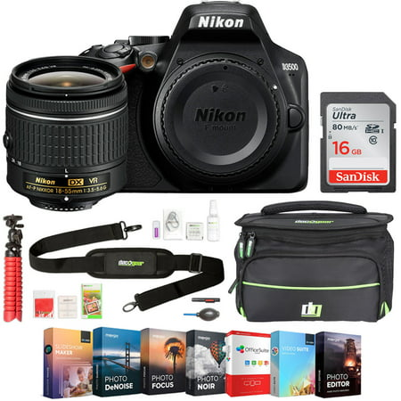 Nikon D3500 24.2MP DSLR Camera with NIKKOR 18-55mm f/3.5-5.6G VR + 16GB