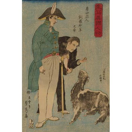 Japanese print shows a Russian military officer and another man feeding a goat  From series entitled Ikiutsushi ikoku jinbutsu in 1860 Poster Print by Sadahide