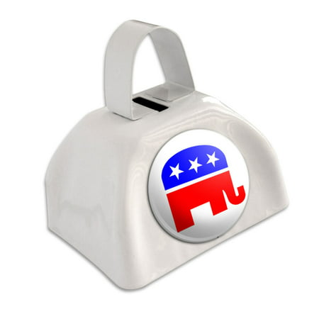 Republican Elephant White Cowbell Cow Bell