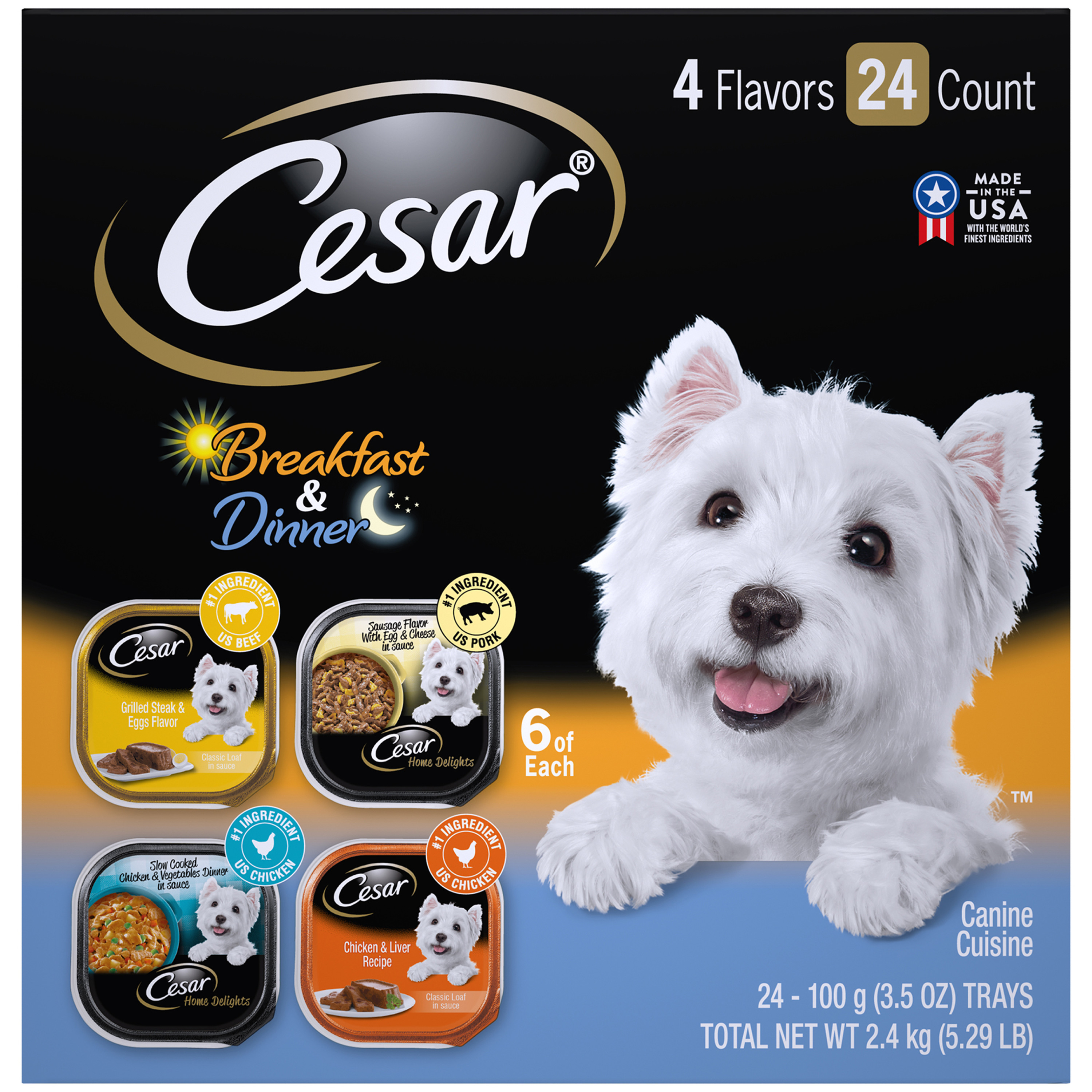 Cesar Wet Dog Food Home Delights & Classic Loaf in Sauce Breakfast & Dinner Variety Pack, (24) 3.5 oz. Trays