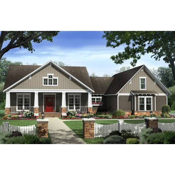 TheHouseDesigners-6388 Classic Country House Plan with Slab Foundation (5 Printed Sets)