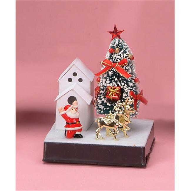Unison Gifts JD-0163 5. 5 inch Small Fiber Optic Xmas Tree - Santa In Front