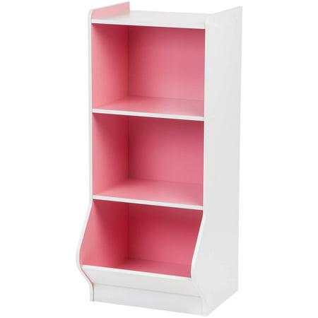 IRIS 3-Tier Storage Organizer Shelf with Footboard, White and Pink ()