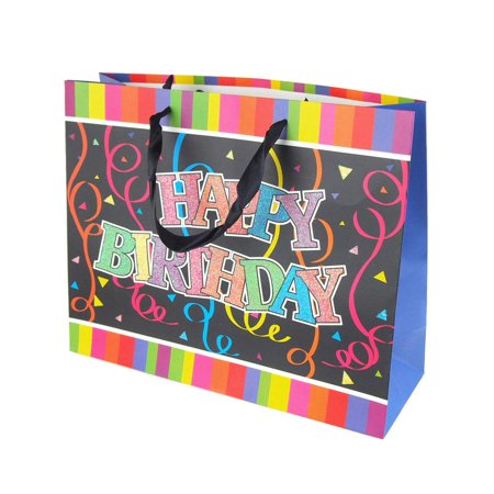 Glittered Happy Birthday Streamers Paper Gift Bags, 10-Inch