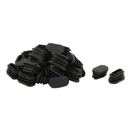 Unique Bargains Table Feet Plastic Oval Design Tube Pipe Insert Cap Black 15.5mm x 30mm 30 PCS Black Oval Tubes