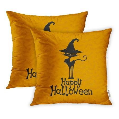 CMFUN Orange Animals Black Cat Happy Halloween Wishes Autumn Bats Clutches Pets Pillowcase Cushion Cover 20x20 inch, Set of 2