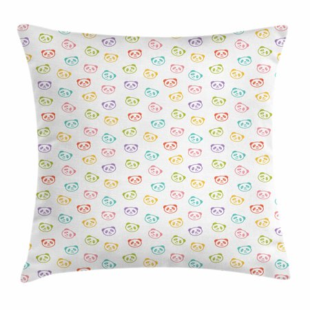 Baby Throw Pillow Cushion Cover, Funny Panda Bears Colorful Cute Animals Cheerful Smile Wild Kids Nursery Baby Concept, Decorative Square Accent Pillow Case, 18 X 18 Inches, Multicolor, by Ambesonne
