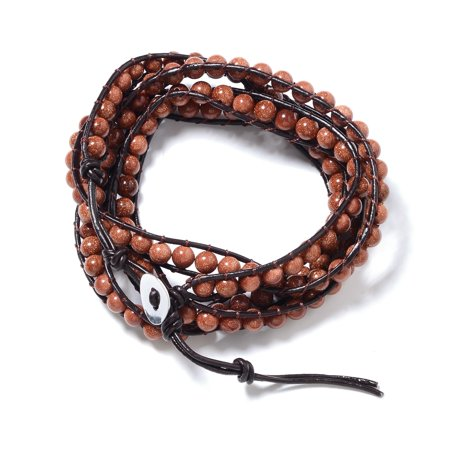 Shop LC Silvertone Leather Round Beads Gold Sandstone Bracelet for Women 7