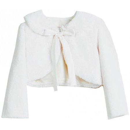 Little Baby Girls Faux Fur Ribbon Long Sleeve Tie Flower Girl Bolero Jacket Cover Cape Ivory S (SC3K5) - Bolero Tie