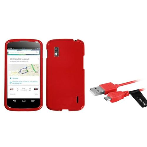 Insten Flaming Red Hard Phone Skin Case Cover 6ft Usb Cord