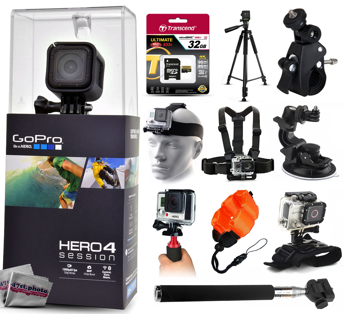 GoPro Hero 4 HERO4 Session CHDHS-101 with 32GB Ultra Memory + 60? Pro Series Tripod + Bike Motorcycle Clamp + Head/Chest Mount + Suction Cup + Stabilizer + Selfie Stick + Wrist Glove + Floaty Strap GPH4SSNEW32GBK23