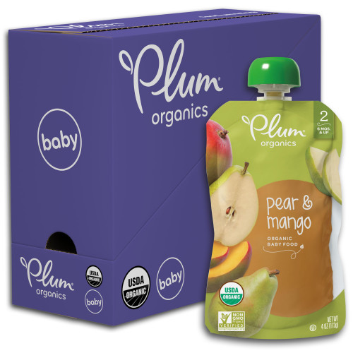 Plum Organics Stage 2, Organic Baby Food, Pear & Mango, 4oz Pouch (Pack of 6)