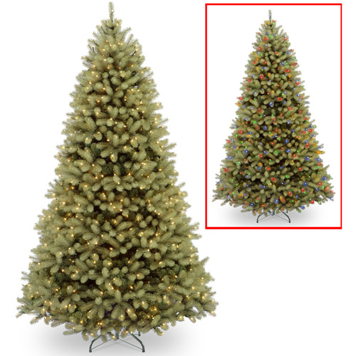 "National Tree Pre-Lit 9' ""Feel Real"" Down Swept Douglas Fir Hinged Artificial Christmas Tree with 900 Low Voltage Dual LED Lights"