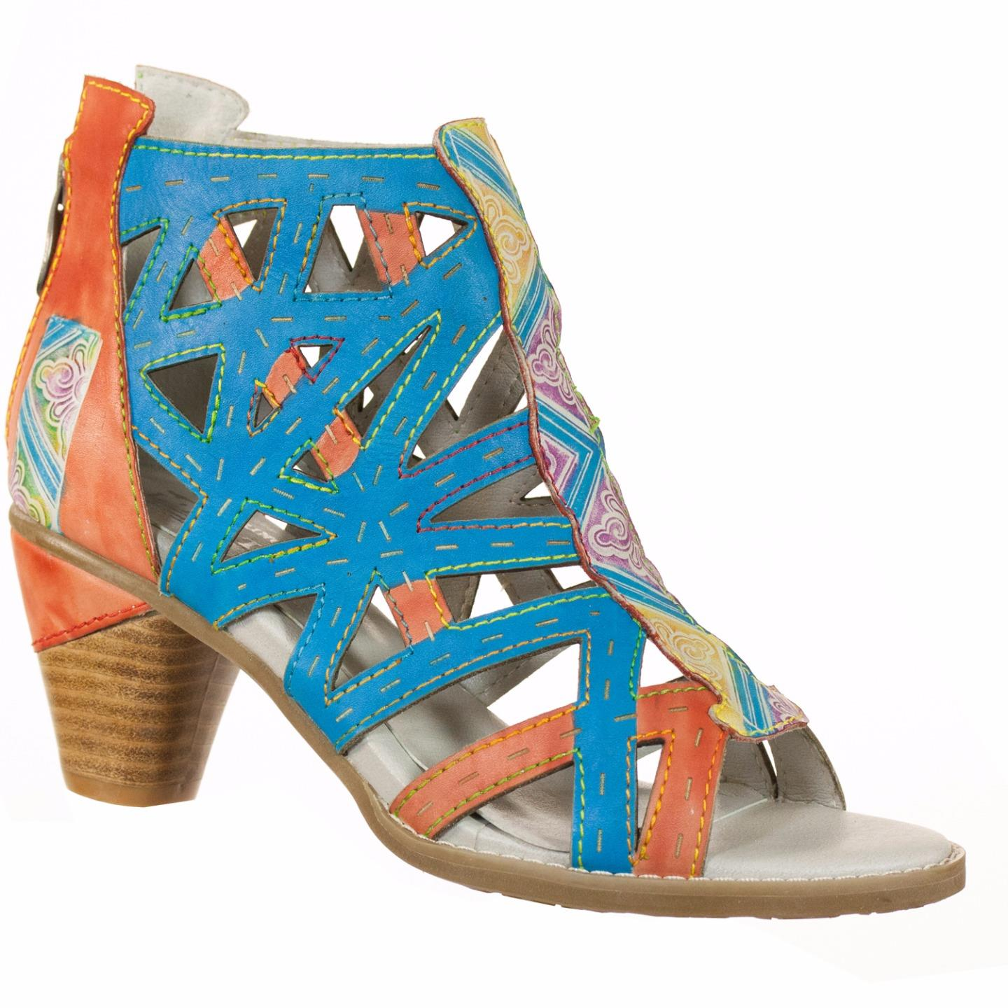 L'Artiste By Spring Step Coastline Women's Sandals Turquoise Multi EU 37 US 7 by Spring Step
