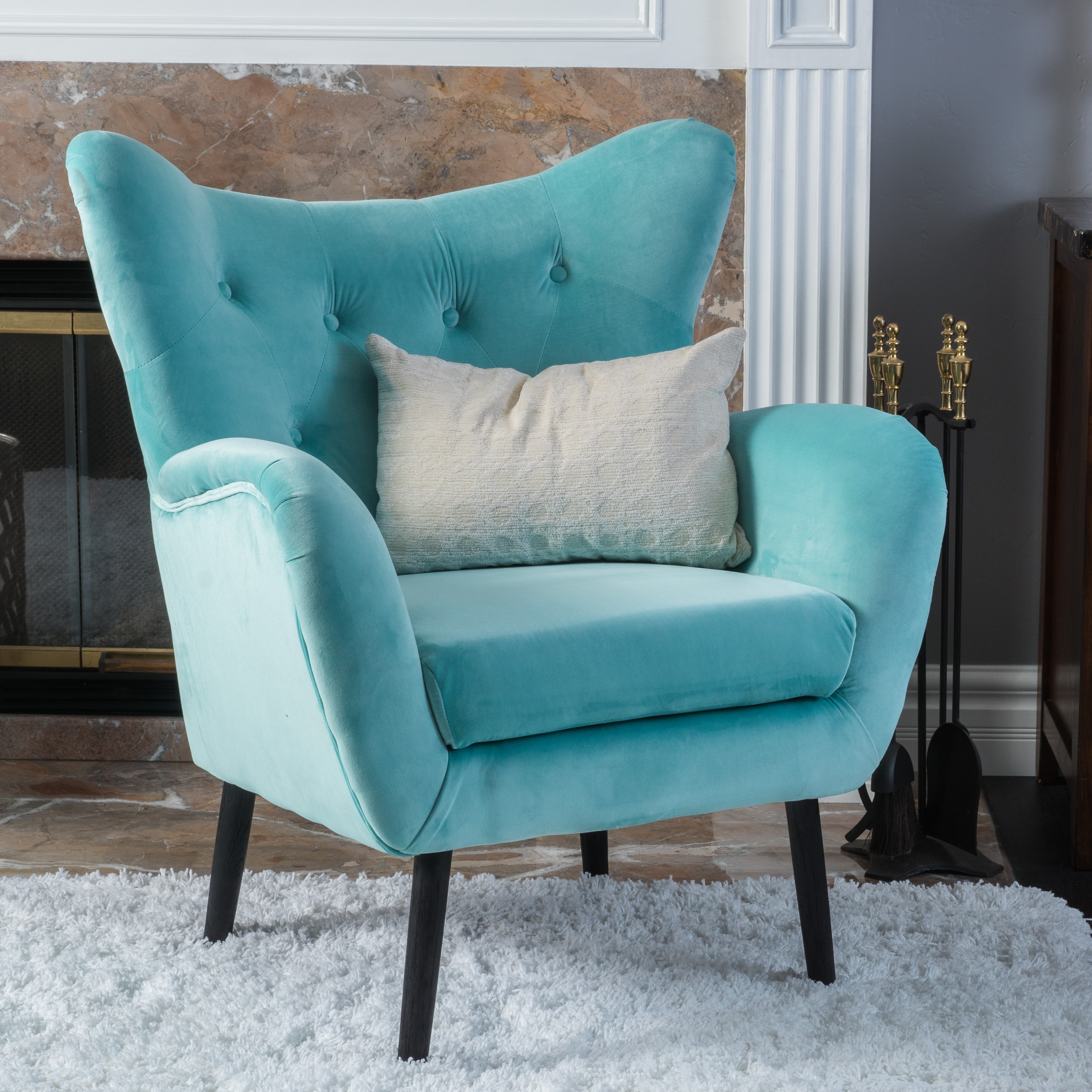 Noble House Simon Light Blue Arm Accent Chair