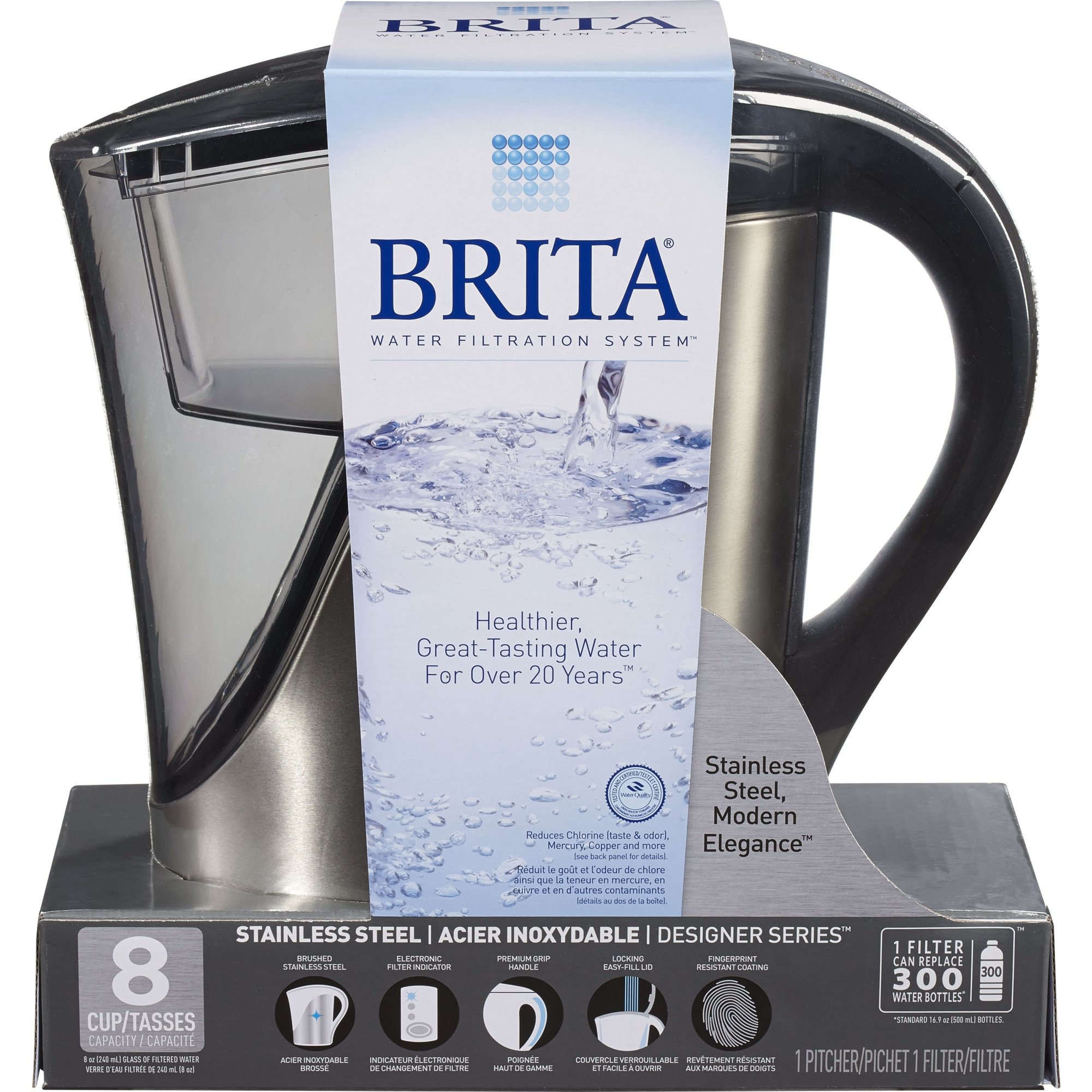 Brita 35792 8 Cup Stainless Steel Pitcher