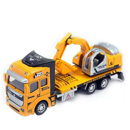1:48 Pull Back Alloy ABS Metal Car Model Construction Trucks Toy Diecast Vehicle for Kids Birthday/Holiday Gifts