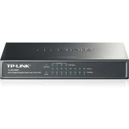 TP-LINK TL-SG1008P 8-Port Gigabit Desktop POE Switch with 4 PoE Ports - 8 Ports - 4 x POE - 4 x RJ-45 - 10/100/1000Base-T -