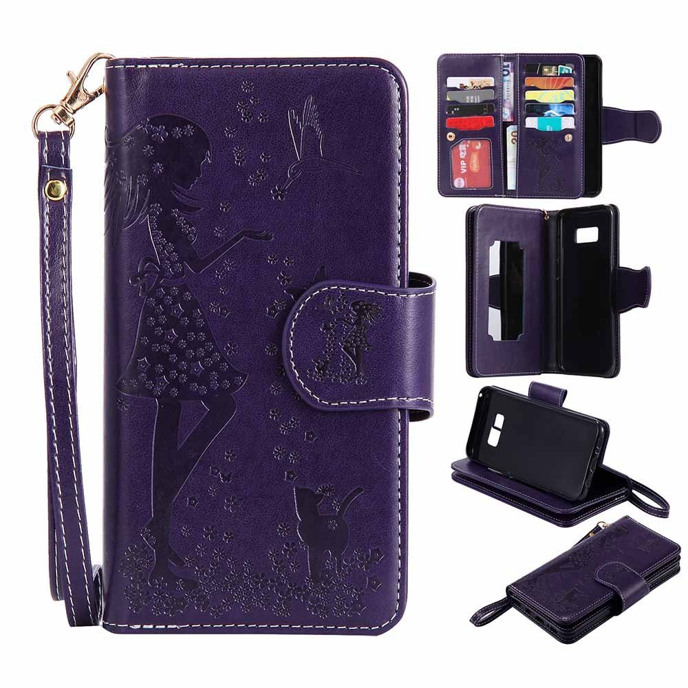 C-Super Mall Galaxy S8 Plus Case [9 Cardslots and Makeup Mirror], Embossed Girl & Cat Pattern PU Leather Wallet Stand Flip Case for Samsung Galaxy S8 Plus (Purple)