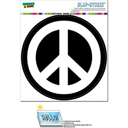 Peace Sign Symbol White Black - Circle SLAP-STICKZ(TM) Premium