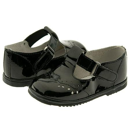 Baby Toddler Girls Black Patent Eyelet Design Mary Jane Shoes Size 1-7