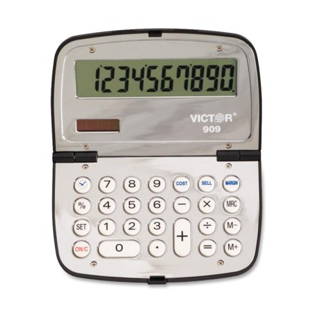 Victor 10 Digit Handheld Folding Calculator   Clock  Date  Extra Large Print  Non Slip Rubber Key  Battery Backup  Dual Power  3 Key Memory  Independent Memory   Battery Solar Powered   0 3   X 4 5   X