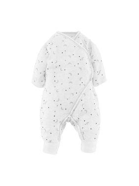 Baby Unisex Muslin Side Snap Kimono Preemie Gray Starry Night Print Organic Cotton
