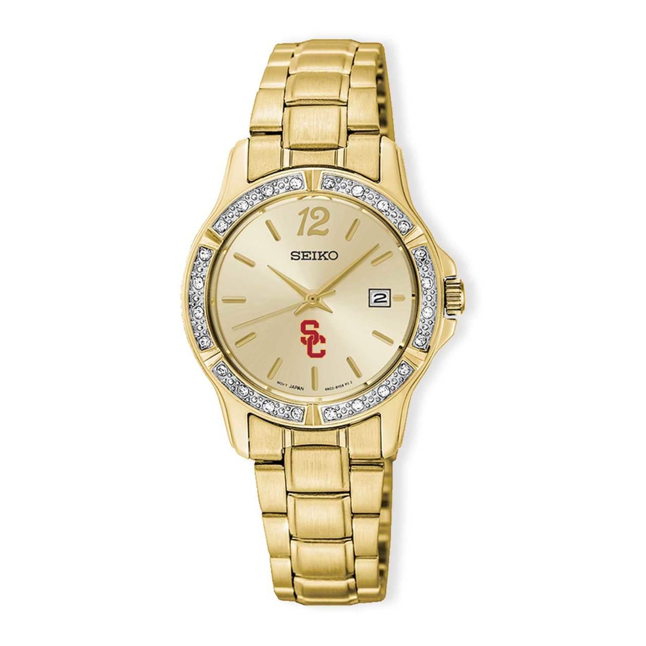 USC Trojans Seiko Ladies` PRIME Gold-tone Crystal Watch