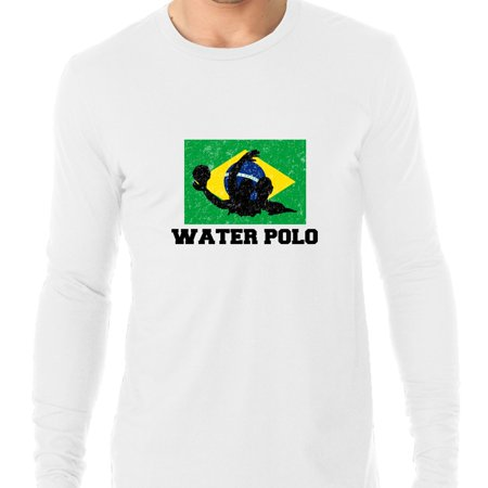 Brazil Olympic - Water Polo - Flag - Silhouette Men's Long Sleeve T-Shirt