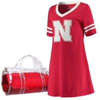 Nebraska Cornhuskers Women's Football Jersey Night Dress & Mini Duffel Bag Set - Scarlet