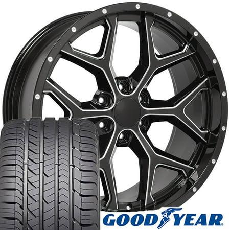 OE Wheels 22 Inch | Fit Chevy Silverado Tahoe GMC Sierra Yukon Cadillac Escalade | CV98 Deep Dish Milled Gloss Black 22x9.5 Rims, Goodyear Eagle Sport All Season Tires | Hollander 5668 -