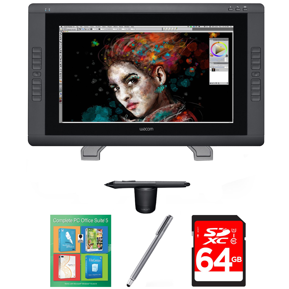 Wacom Cintiq 22HD Touch Pen Display (DTH2200) with Corel Complete PC Office Suite 5, Bamboo Solo Stylus for Tablets and Smartphones & 64GB Memory Card
