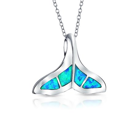 Nautical Blue Inlay Created Opal Fish Fin Whale Tail Pendant Necklace For Women For Girlfriend 925 Sterling Silver