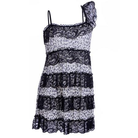 Black Negligee - Anna-Kaci S/M Fit Black and Beige Leopard Print Horizontal Lace Trim Negligee