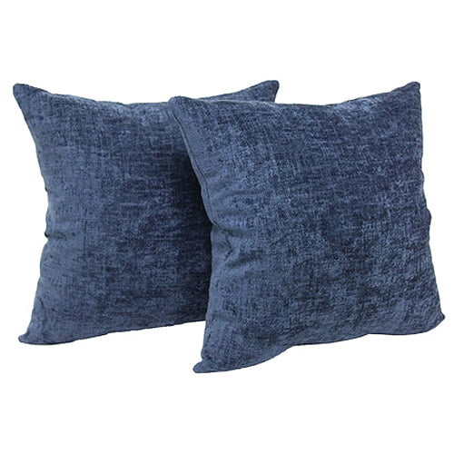 Mainstays Chenille Decorative Throw Pillow 18 x 18 Navy Two