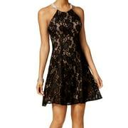 Betsy Adam Black Mocha Lace Fit Flare Dress 6