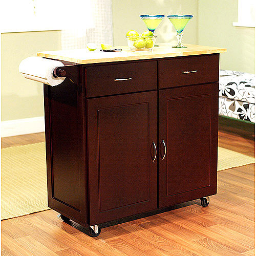 large kitchen cart with rubberwood top, multiple finishes