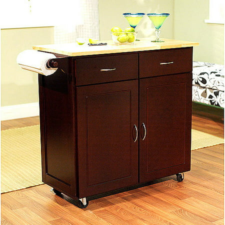 Large Kitchen Cart With Rubberwood Top Multiple Finishes