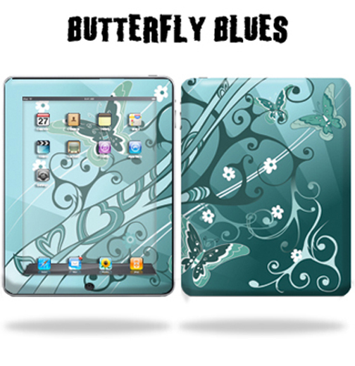 Mightyskins Protective Vinyl Skin Decal Cover for Apple iPad tablet e-reader 3G or Wi-Fi wrap sticker skins - Butterfly Blues