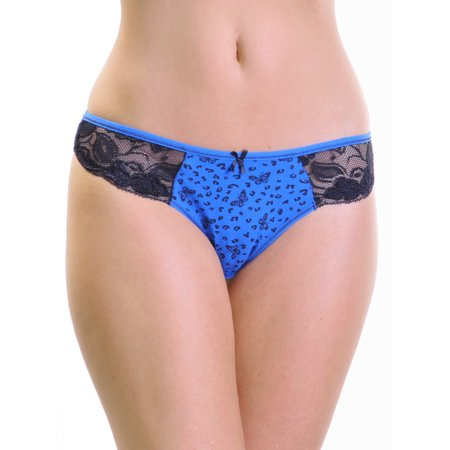 Angelina Cotton Butterfly Leopard Print Lace Accented Thongs (12-Pack)