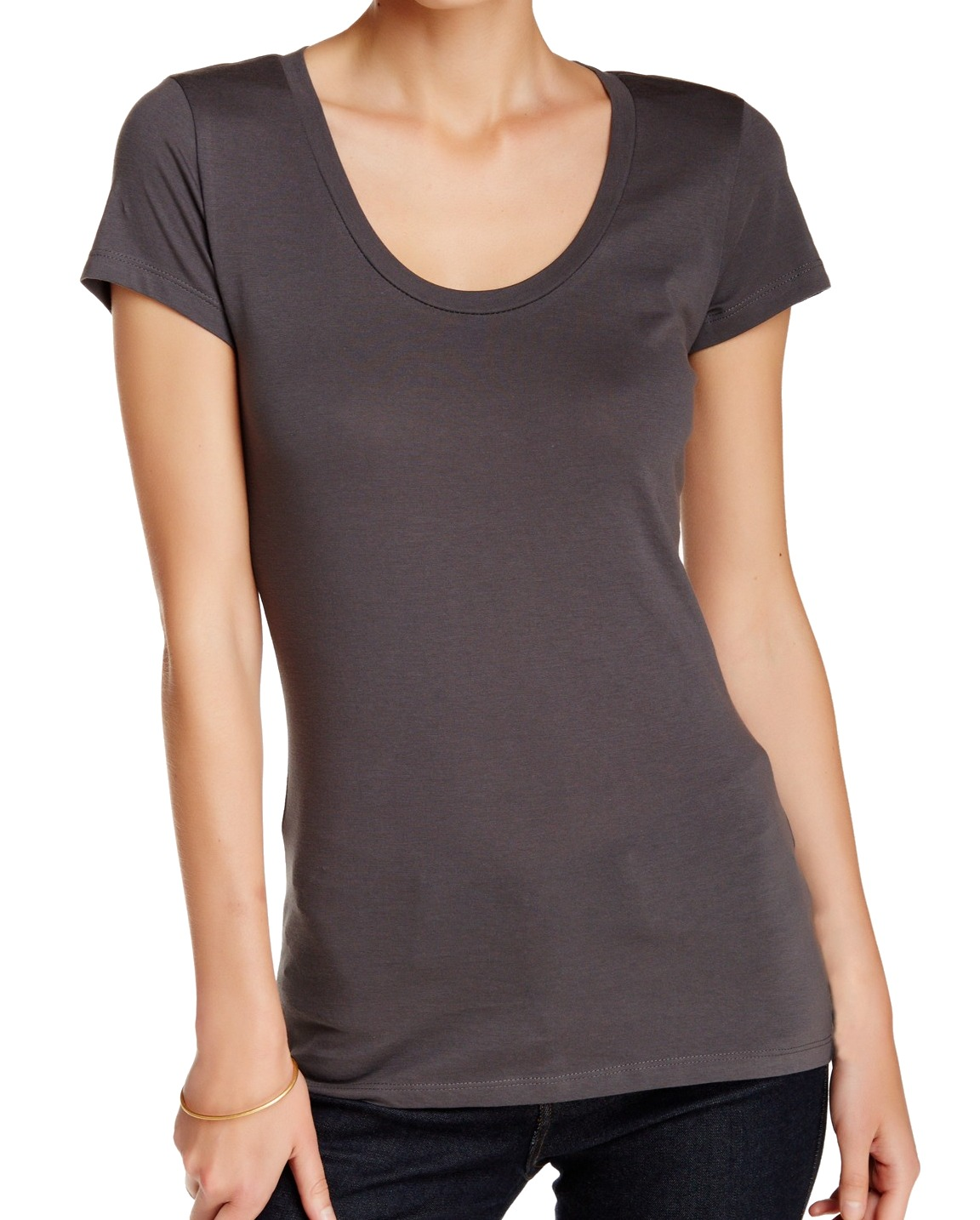 72d3796d0a39 susina - susina NEW Gray Charcoal Women's Medium M Solid Scoop-Neck ...