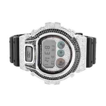 Mens Dw6900 G Shock Silicon Band Iced Out Lab Diamond 2 Tone Watch