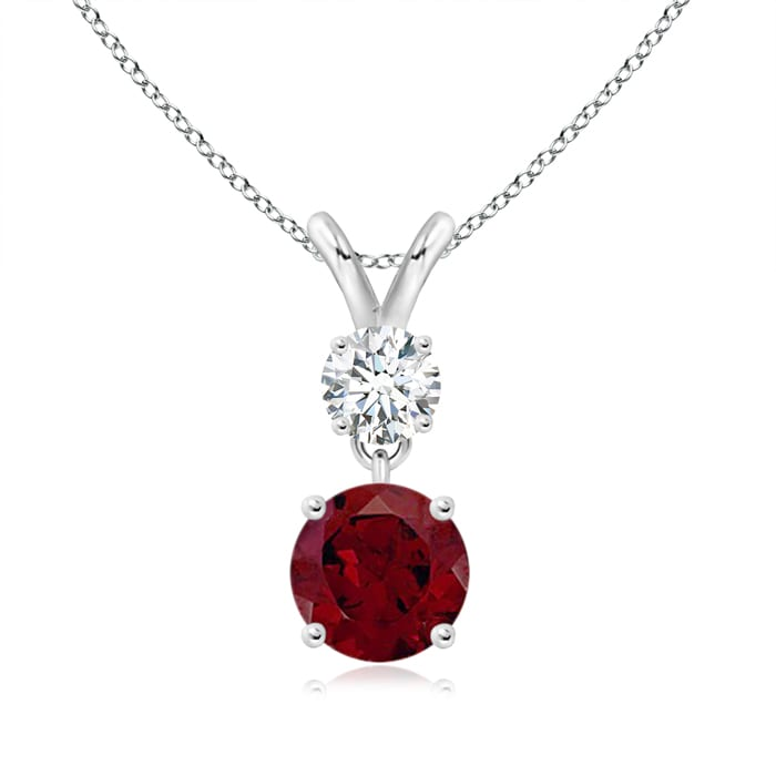 Angara Round Garnet Necklace Pendant in Platinum k5QAc