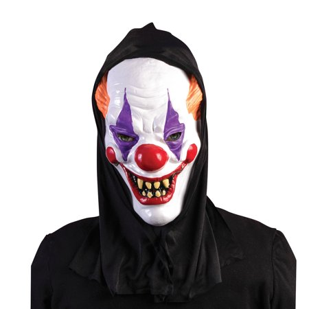 Forum Halloween Hooded Killer Clown Full Head Mask, Black White, One-Size