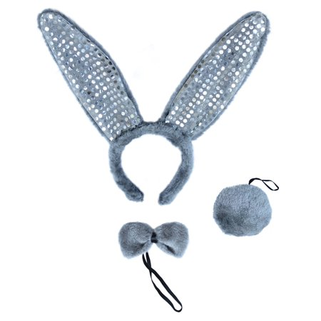 SeasonsTrading Gray Plush Sequin Bunny Ears Costume Set - Rabbit Party - Rabbit Ears Halloween Costume