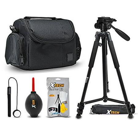 Xtech Premium Camera Case + Pro Series 72' inch Tripod for Canon EOS Rebel T7i T7 T6i T6S T6 T5i T5 T3i SL2 SL1 EOS 80D 77D 70D 60D EOS 9000D 800D 760D 750D 700D 1300D 1200D (Canon Eos Rebel T2i Camera Case)