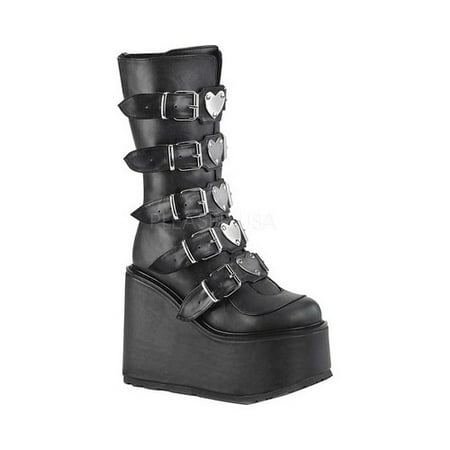 Demonia Suede Platforms - Women's Demonia Swing 230 Platform Mid-Calf Boot